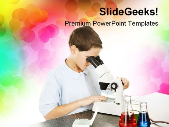 Child Looks Through Microscope Education PowerPoint Template 1110