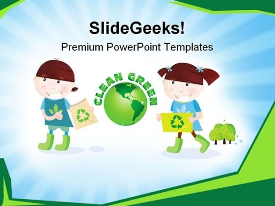 Children With Recycle Symbol PowerPoint Templates And PowerPoint Backgrounds 0711