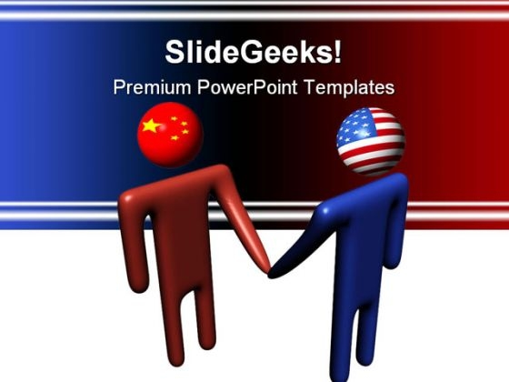 Chinese American Meeting Handshake PowerPoint Themes And PowerPoint Slides 0811