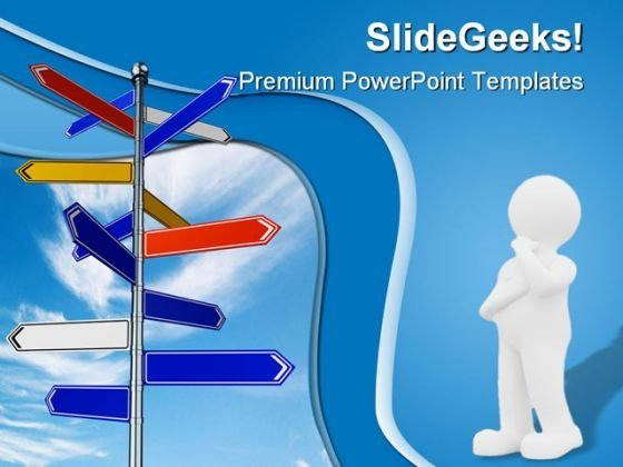 Choices Signpost Metaphor PowerPoint Themes And PowerPoint Slides 0811