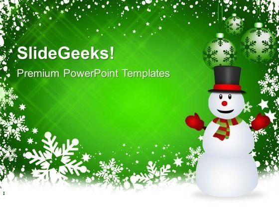 Christmas Background And Snowman Holidays PowerPoint Templates Ppt Backgrounds For Slides 1112