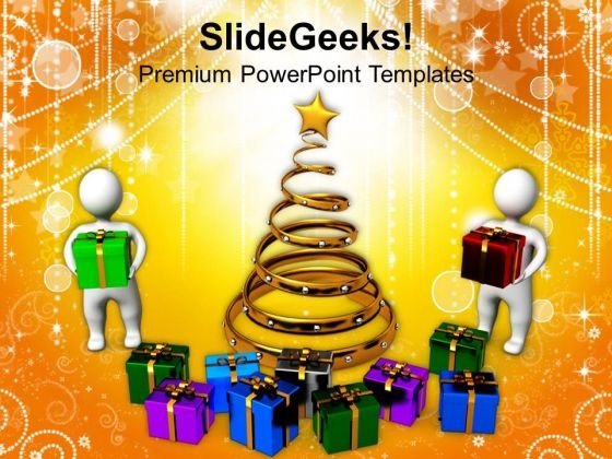 Christmas Celebration With Presents Holidays PowerPoint Templates Ppt Backgrounds For Slides 1212