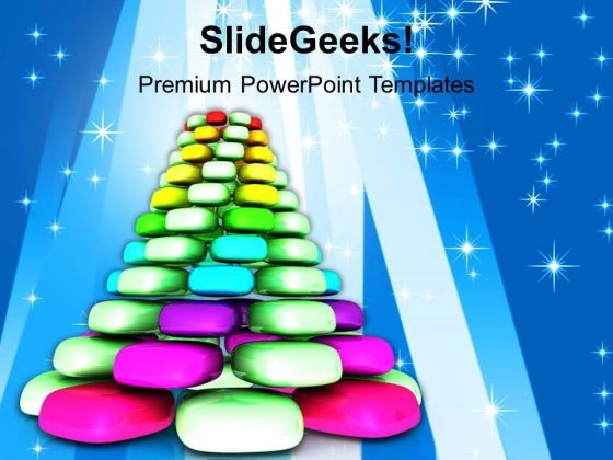Christmas Cubed Tree Celebration Festival PowerPoint Templates Ppt Backgrounds For Slides 1212