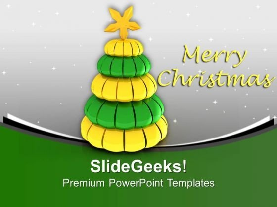Christmas Cubed Tree Winter Holidays PowerPoint Templates Ppt Backgrounds For Slides 0113