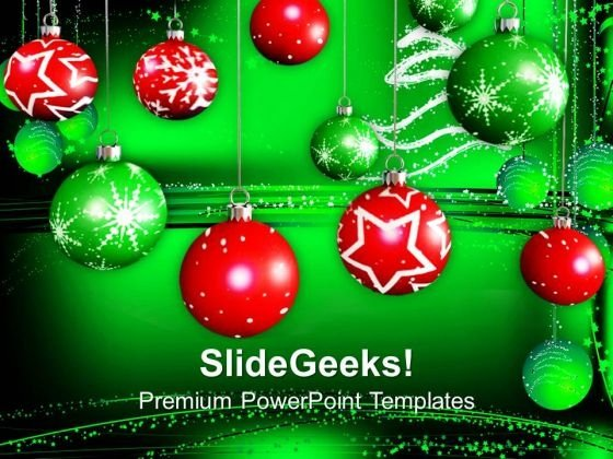 Christmas Decorative Baubles Holidays PowerPoint Templates Ppt Backgrounds For Slides 1112