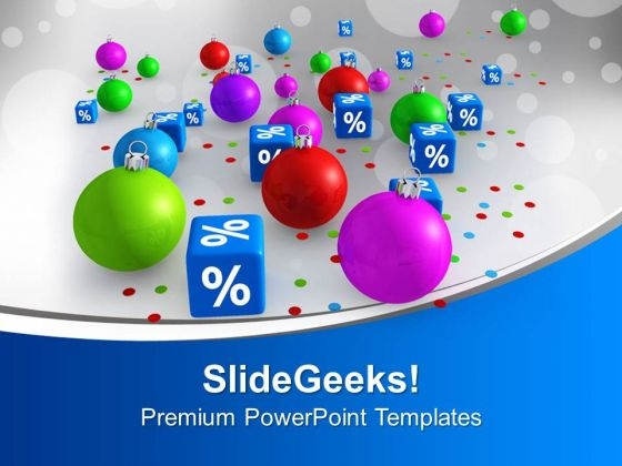 Christmas Discount Party Percentage Sale PowerPoint Templates Ppt Backgrounds For Slides 0113