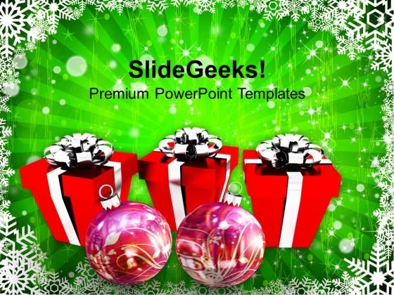 Christmas Gift Box With Decoration Festival PowerPoint Templates Ppt Backgrounds For Slides 1112