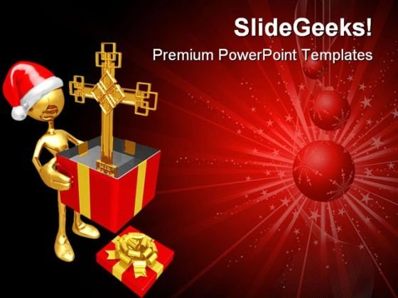 Christmas Gift Cross Festival PowerPoint Themes And PowerPoint Slides 0811