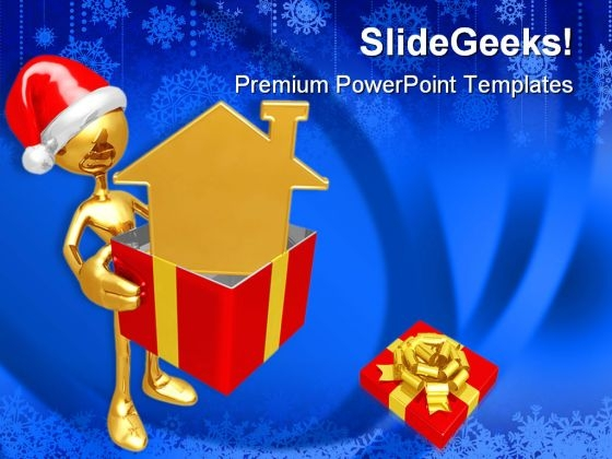 Christmas Gift Golden Home Festival PowerPoint Templates And PowerPoint Backgrounds 0611