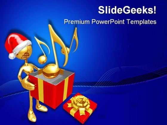 Christmas Gift Music PowerPoint Themes And PowerPoint Slides 0711