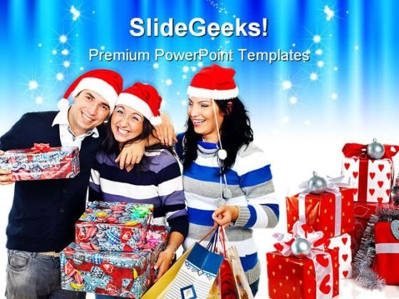 Christmas Gifts Friends Festival PowerPoint Backgrounds And Templates 0111