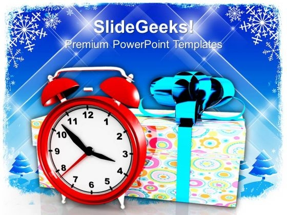 Christmas Gifts With Alarm Clock Festival PowerPoint Templates And PowerPoint Themes 1112