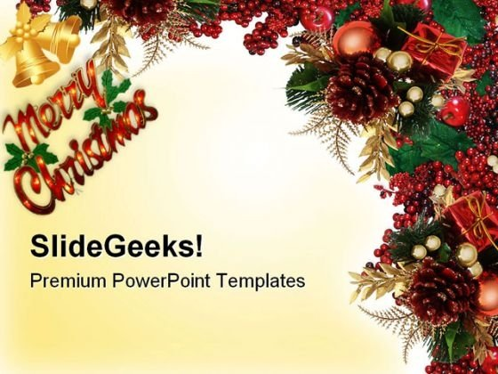 Christmas Holly Berries Abstract PowerPoint Themes And PowerPoint Slides 0611