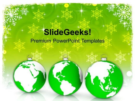 Christmas Ornaments With World Maps PowerPoint Templates Ppt Backgrounds For Slides 1112