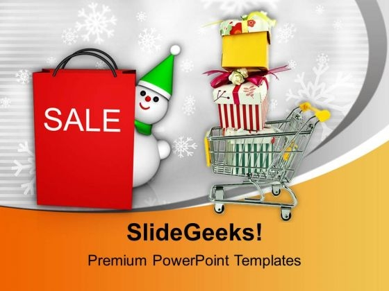 Christmas Sale Basket Full Of Items PowerPoint Templates Ppt Backgrounds For Slides 0113