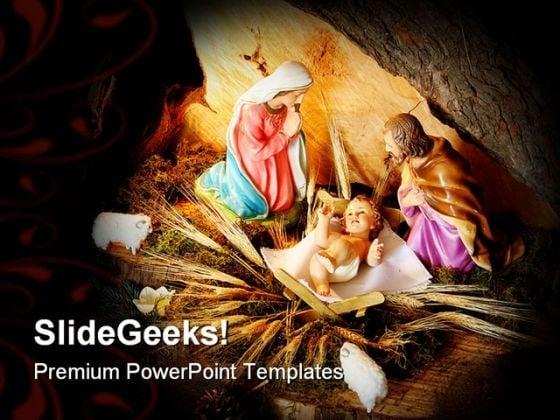 Christmas Scene Holidays PowerPoint Template 1010