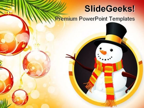 Christmas Snowman Festival PowerPoint Themes And PowerPoint Slides 0811