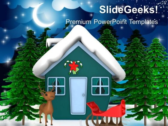 Christmas Theme With Santas Sleigh Holidays PowerPoint Templates Ppt Backgrounds For Slides 1212