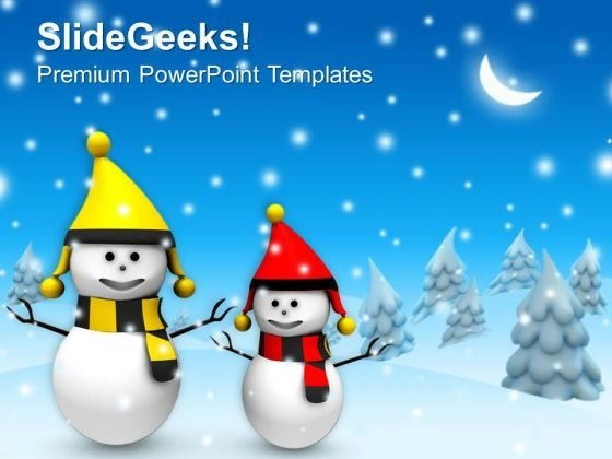 Christmas Theme With Snowman Winter Holidays Powerpoint Templates