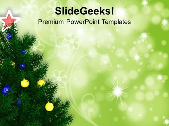 Christmas Tree On Green Shiny Background Powerpoint Templates Ppt