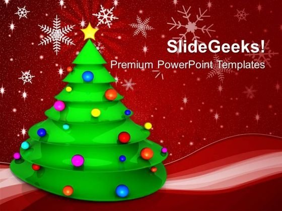 Christmas Tree With Colored Balls Festival PowerPoint Templates Ppt Backgrounds For Slides 1212