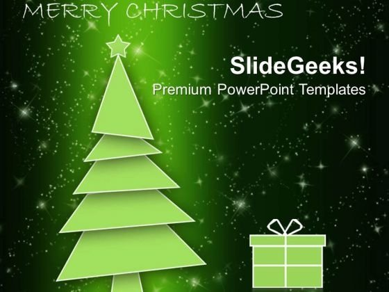 Christmas Tree With Gift Box Holidays PowerPoint Templates Ppt Backgrounds For Slides 1112