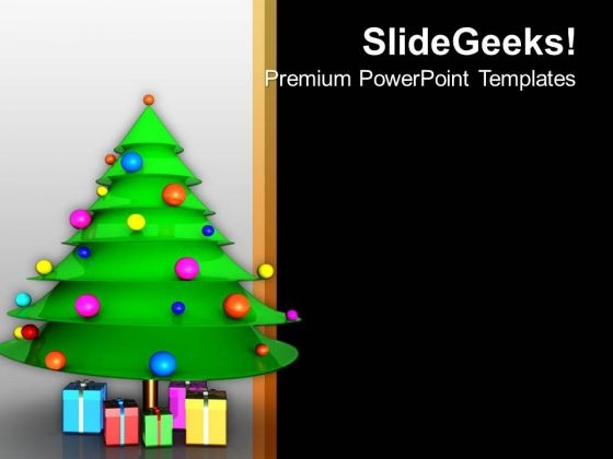 christmas tree with gift festival theme powerpoint templates ppt