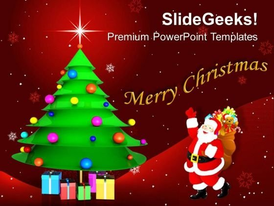 Christmas Tree With Gifts Powerpoint Templates Ppt Backgrounds For