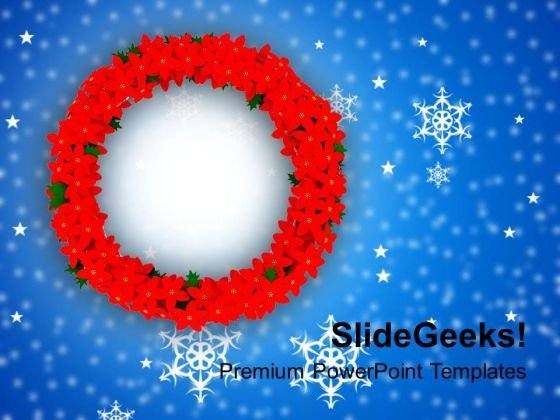 Christmas Wreath In Red Color PowerPoint Templates Ppt Backgrounds For Slides 1212