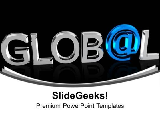 Chrome Letters Spelling The Word Global PowerPoint Templates Ppt Backgrounds For Slides 0113