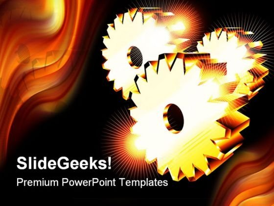 Chromed Gears Business PowerPoint Templates And PowerPoint Backgrounds 0411