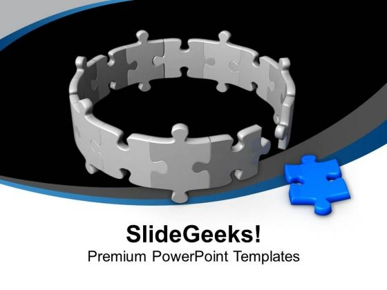 Circle Of Blue Jigsaw Puzzle Leadership PowerPoint Templates Ppt Backgrounds For Slides 0413