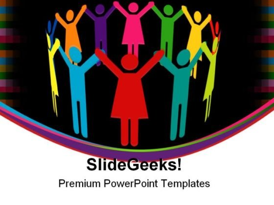 Circle Of Colourful People Teamwork PowerPoint Themes And PowerPoint Slides 0411