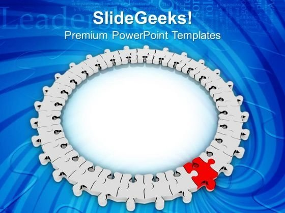 Circular Jigsaw Puzzle Leadership Concept PowerPoint Templates Ppt Backgrounds For Slides 0213
