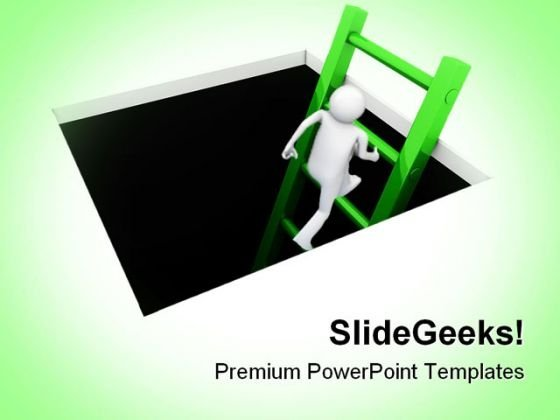 Climb Out Of The Hole People PowerPoint Themes And PowerPoint Slides 0211