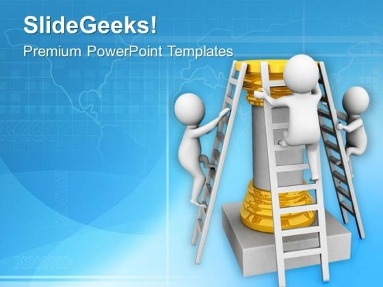 Climb The Stairs Of Business Success PowerPoint Templates Ppt Backgrounds For Slides 0613