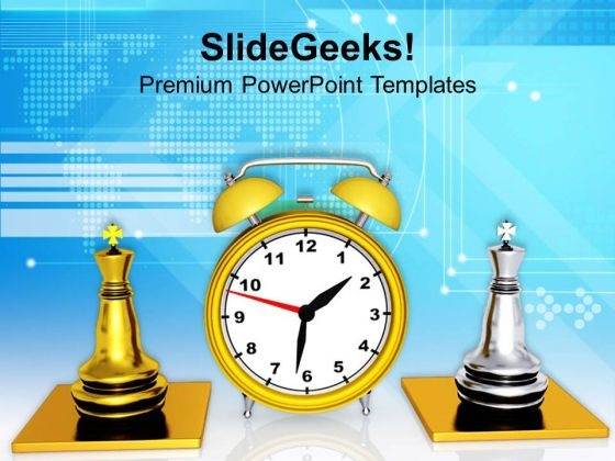 Clock And Chess Pieces Strategy PowerPoint Templates Ppt Backgrounds For Slides 0313