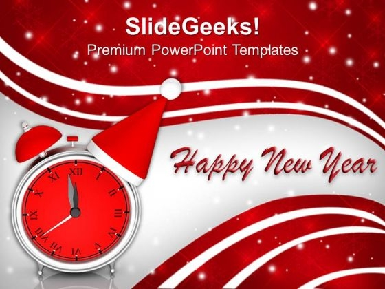 Clock With Christmas Hat New Year PowerPoint Templates Ppt Backgrounds For Slides 1212