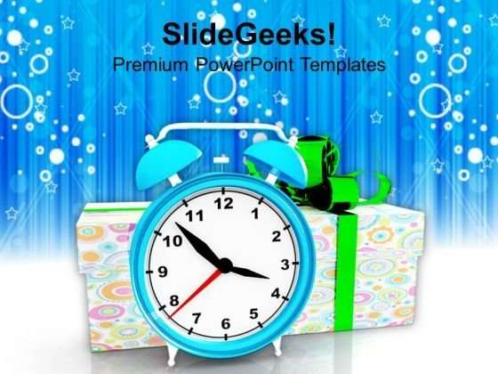 Clock With Presents Celebration Events PowerPoint Templates And PowerPoint Themes 1112
