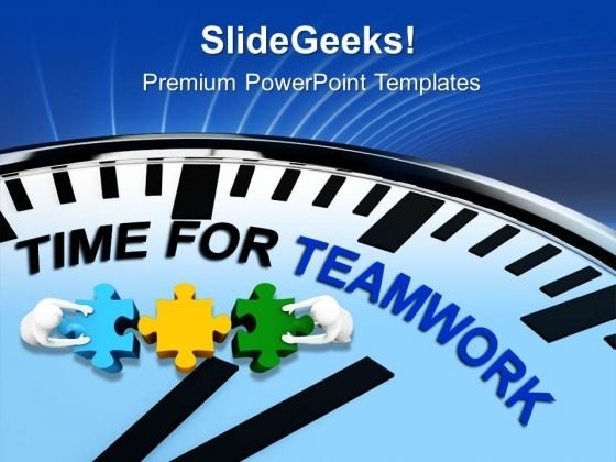 Clock With Words Time For Teamwork PowerPoint Templates Ppt Backgrounds For Slides 0813