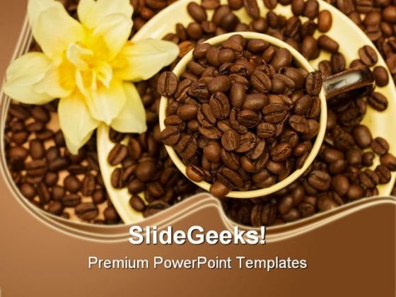 Coffee Cup With Beans Food PowerPoint Templates And PowerPoint Backgrounds 0211