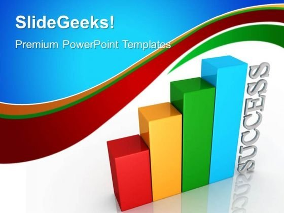 Colored Bar Graph With Success PowerPoint Templates And PowerPoint Themes 0412