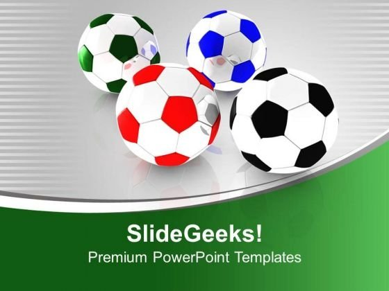 Colored Football For Game Theme PowerPoint Templates Ppt Backgrounds For Slides 0613
