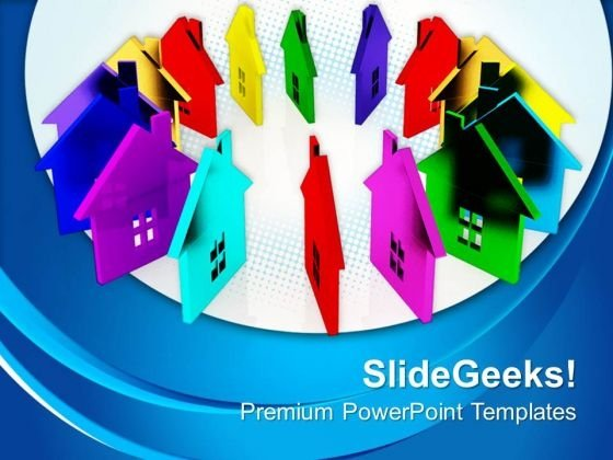 Colored Houses Real Estate PowerPoint Templates And PowerPoint Themes 0812