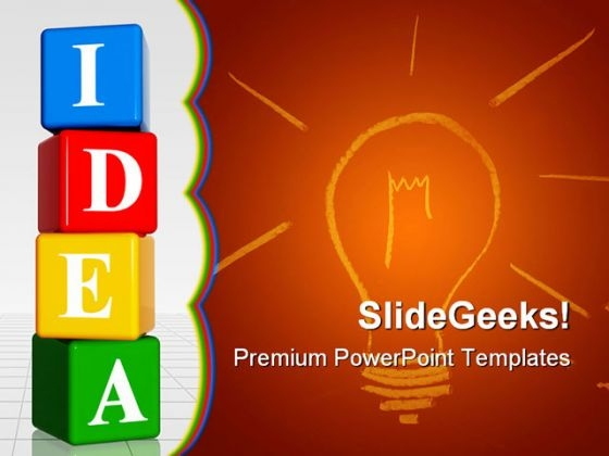 Colored Idea With Cubes Shapes PowerPoint Themes And PowerPoint Slides 0311