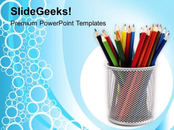 Colored Pencils In Stand PowerPoint Templates Ppt Backgrounds For Slides 0213
