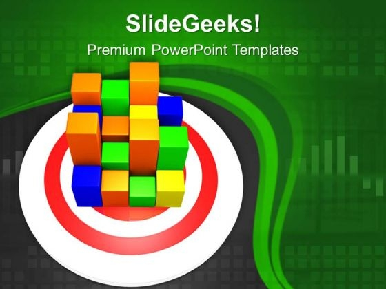 Colorful Bar Graph Pieces Together PowerPoint Templates Ppt Backgrounds For Slides 0313