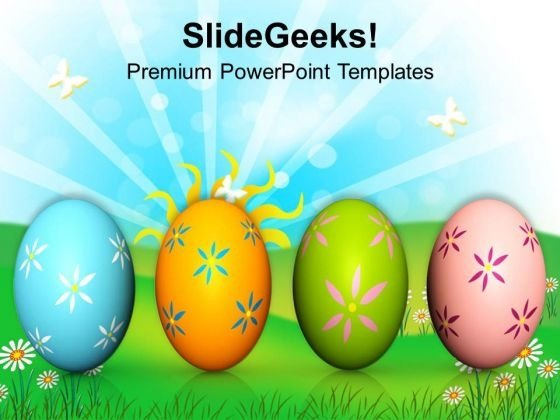 Colorful Easter Eggs On White Background PowerPoint Templates Ppt Backgrounds For Slides 0313