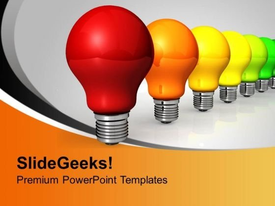 Colorful Electric Bulbs Energy Efficiency PowerPoint Templates Ppt Backgrounds For Slides 0313