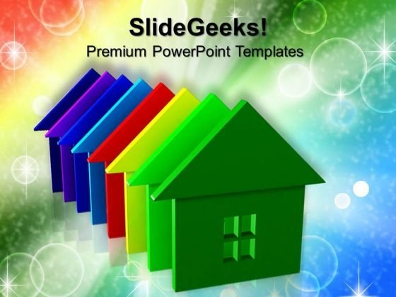Colorful House Real Estate PowerPoint Templates And PowerPoint Themes 0812